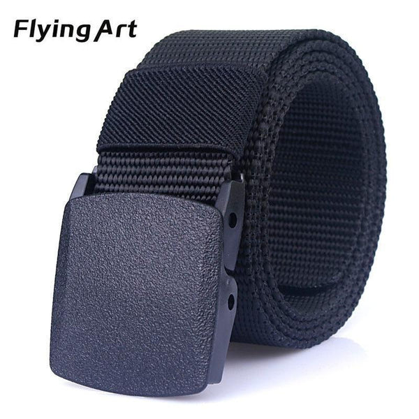 Automatic nylon belt buckle High quality military fans tactical canvas belt For man and women Hot brand belt 110 to 140cm-Black-110cm-JadeMoghul Inc.