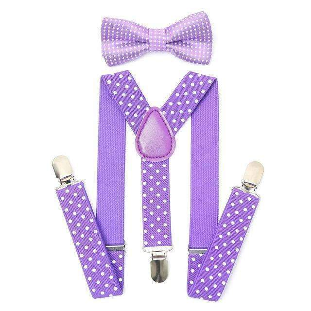 Polka Dots Purple Adjustable Length by FOREER Bow Tie For Kids Stylish Pre Tied Bow Ties for Boys and Girls