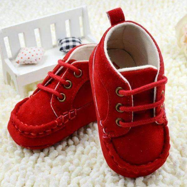 Baby Boy Faux Suede Soft Sole Shoes-Red-3-JadeMoghul Inc.