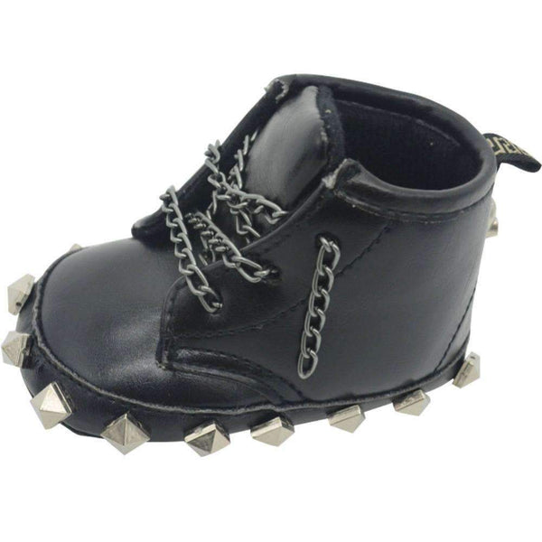 Baby Boy Rivet Detailed Biker Boots With Metal Chain Laces-Black-1-JadeMoghul Inc.