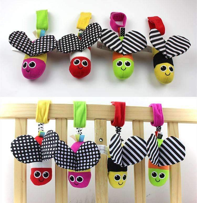 Baby Plush Toys Cute Animal Bee Wind Bell Stroller Bed Hanging Early Educational Toys Rattles-Green-JadeMoghul Inc.