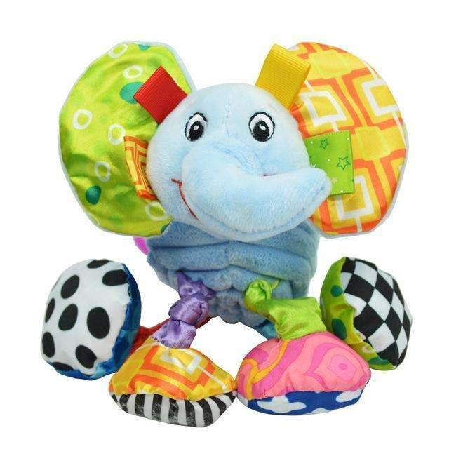 Baby Rattle Ring Bell Baby Toy Soft Plush Elephant Crib Bed Hanging Animal Teether Animal Infant Early Educational Doll WJ323-Elephant-JadeMoghul Inc.