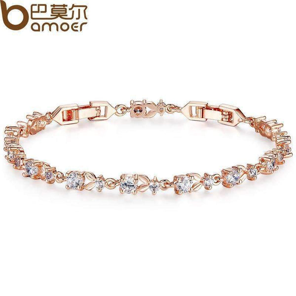BAMOER 6 Colors Luxury Rose Gold Color Chain Link Bracelet for Women Ladies Shining AAA Cubic Zircon Crystal Jewelry JIB013-gold-JadeMoghul Inc.