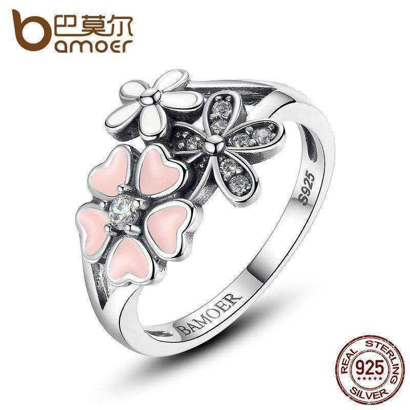 BAMOER 925 Sterling Silver Pink Flower Poetic Daisy Cherry Blossom Finger Ring for Women Engagement Fashion Jewelry SCR004-6-JadeMoghul Inc.