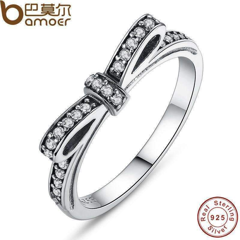 BAMOER Authentic 925 Sterling Silver Sparkling Bow Knot Stackable Ring Micro Pave CZ for Women Wedding Jewelry PA7104-6-PA7104-JadeMoghul Inc.