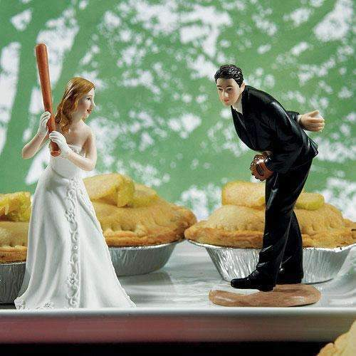 "Baseball Wedding Cake Topper - Hit a Home Run Bride at Home Base Ready to ""Hit the Home Run"" (Pack of 1)-Wedding Cake Toppers-JadeMoghul Inc."