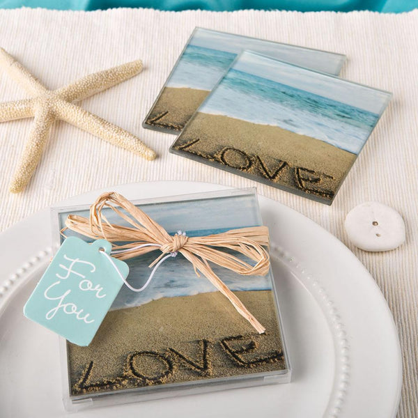 Beach Love themed set of 2 glass coasters from fashioncraft-Personalized Coasters-JadeMoghul Inc.