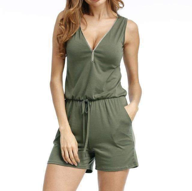 Beach Summer Playsuits Sleeveless V-neck Women Jumpsuits Shorts Solid Pockets Zipper Casual Office Playsuits Overalls 4XL GV686-Army Green-S-JadeMoghul Inc.