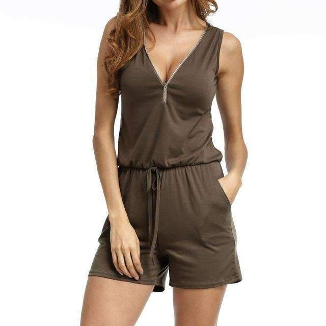 Beach Summer Playsuits Sleeveless V-neck Women Jumpsuits Shorts Solid Pockets Zipper Casual Office Playsuits Overalls 4XL GV686-Coffee-S-JadeMoghul Inc.