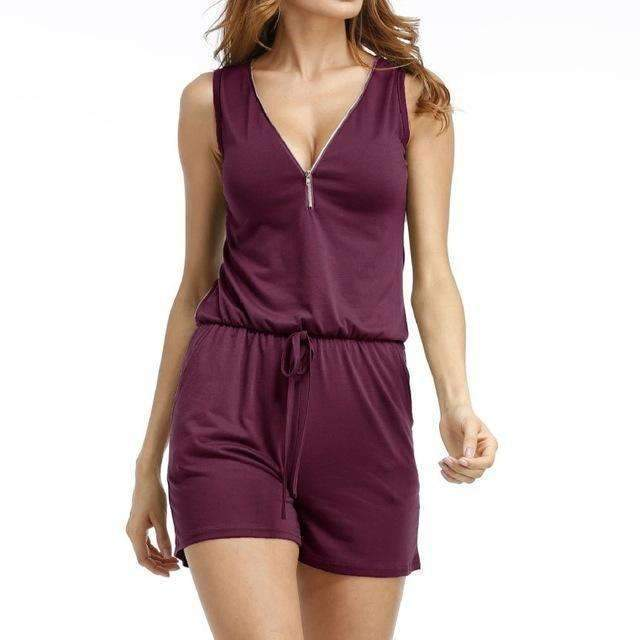Beach Summer Playsuits Sleeveless V-neck Women Jumpsuits Shorts Solid Pockets Zipper Casual Office Playsuits Overalls 4XL GV686-Purple-S-JadeMoghul Inc.