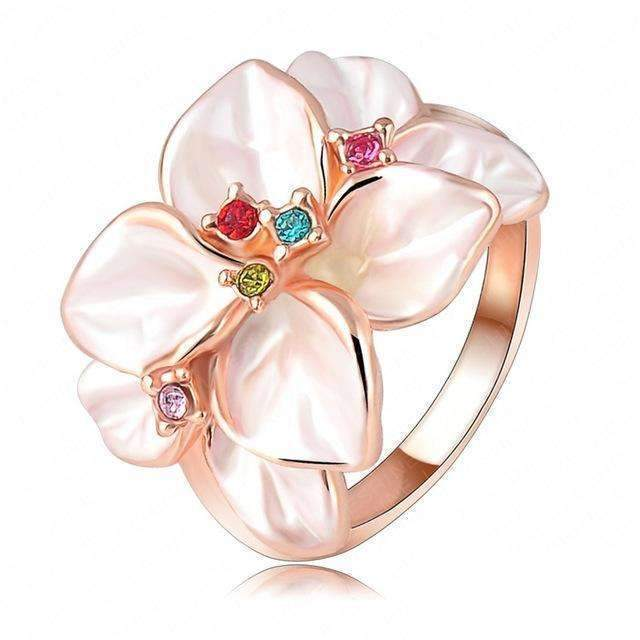 Beagloer Hotting Sale Jewelry Ring With Rose Gold Color Austrian Crystal Black Enamel Flower/Wedding Ring For Women Ri-HQ1006-6.5-A 1-JadeMoghul Inc.