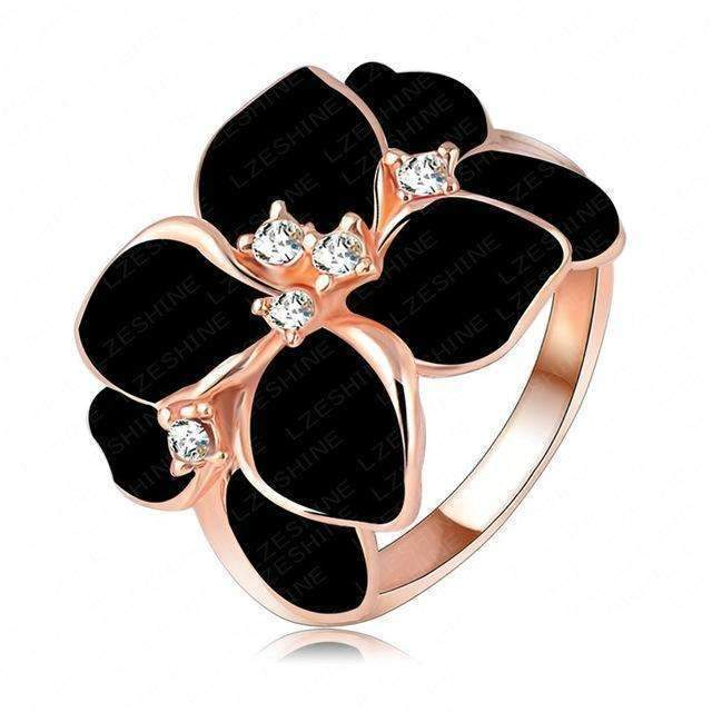 Beagloer Hotting Sale Jewelry Ring With Rose Gold Color Austrian Crystal Black Enamel Flower/Wedding Ring For Women Ri-HQ1006-6.5-A 2-JadeMoghul Inc.