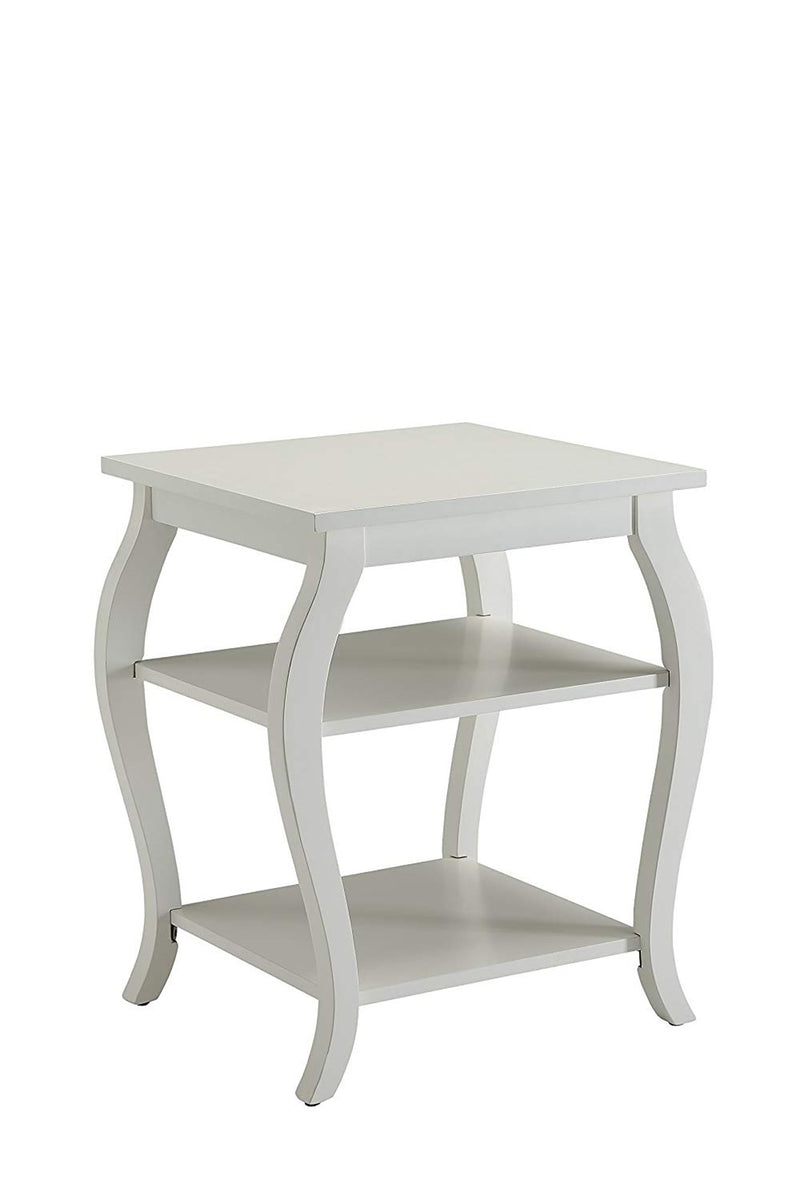 Becci End Table, White-Side Tables and End Tables-White-MDF Solid Wood Leg-JadeMoghul Inc.