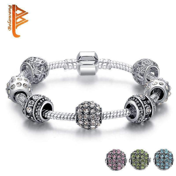 BELAWANG Fashion Women Bracelet Silver Color Crystal Bead Charm Bracelet For Women Christmas Jewelry Original Bracelets Gift-white-18cm-JadeMoghul Inc.