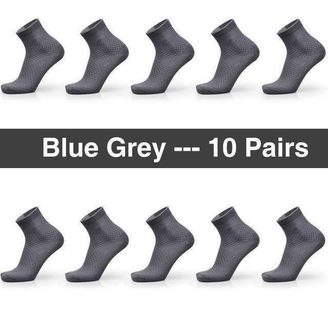 Bendu Brand Guarantee Men Bamboo Socks 10 Pairs / Lot Brethable Anti-Bacterial Deodorant High Quality Guarantee Man Sock-10 Blue Grey-JadeMoghul Inc.