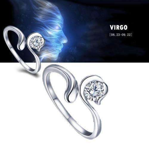 Best Quality Zodiac Star Signs 12 Constellations Shaped Adjustable Opening Silver Plated Ring 5UEZ 6SSD-Resizable-Cancer-JadeMoghul Inc.