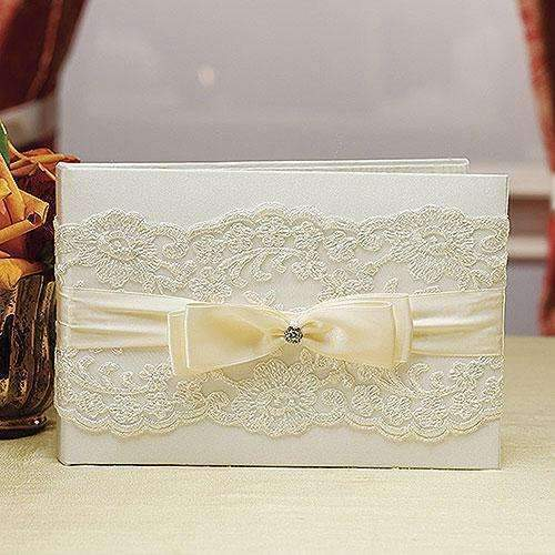 Beverly Clark French Lace Collection Guest Book Ivory (Pack of 1)-Wedding Reception Accessories-JadeMoghul Inc.