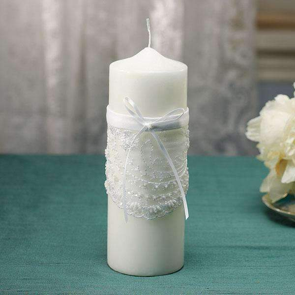 Beverly Clark Venetian Elegance Collection Unity Candle White (Pack of 1)-Wedding Reception Decorations-JadeMoghul Inc.