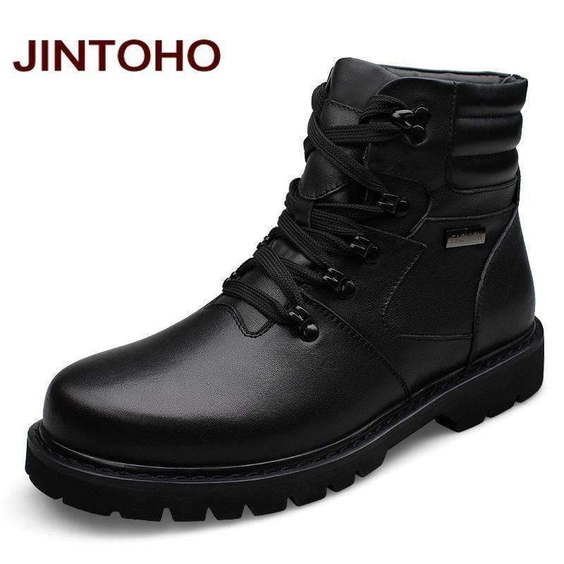 Big Size Men Leather Boots / Winter Warm Motorcycle Boots / 100% Real Leather-hei se-5.5-JadeMoghul Inc.