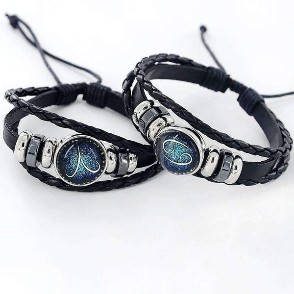 Black Leather Zodiac 12 Constellation Zodiac Sign with beads zodiac Bracelet leather bracelet SL-459-Aries-JadeMoghul Inc.