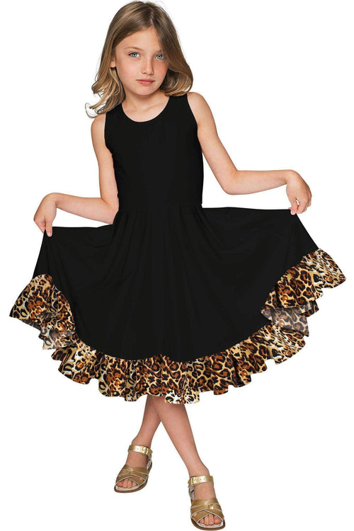 Black Leopard Vizcaya Fit & Flare Dress - Girls-Solid-JadeMoghul Inc.