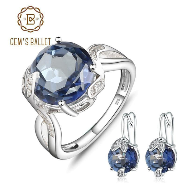 Blue Mystic Quartz Earrings And Ring Set In Solid 925 Sterling Silver-10-JadeMoghul Inc.