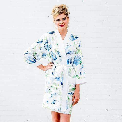 Blue Watercolor Floral Silky Kimono Robe on White Large - X-Large (Pack of 1)-Personalized Gifts for Women-JadeMoghul Inc.