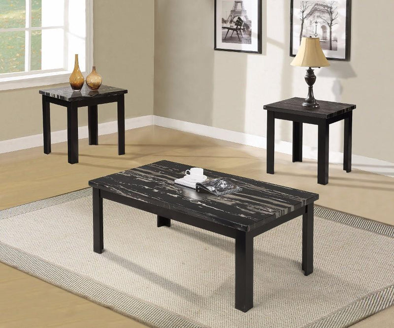 Blythe Coffee/End Table Set, Faux Marble & Black - Pack of 3 Pieces-Coffee Table Sets-Black-Wood MDF Glass-JadeMoghul Inc.