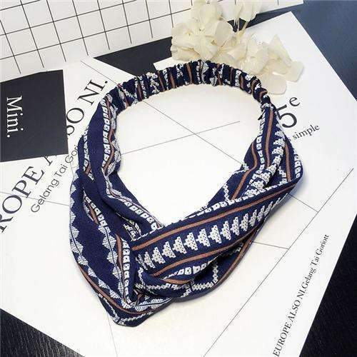 Bohemian Style Elastic Headbands Boho Cross Floral Turban Girls Flower Hairbands Striped Headwrap Hair Accessories For Women-A-JadeMoghul Inc.