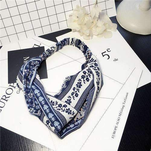Bohemian Style Elastic Headbands Boho Cross Floral Turban Girls Flower Hairbands Striped Headwrap Hair Accessories For Women-G-JadeMoghul Inc.