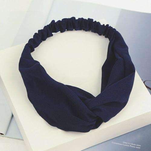 Bohemian Style Elastic Headbands Boho Cross Floral Turban Girls Flower Hairbands Striped Headwrap Hair Accessories For Women-Navy-JadeMoghul Inc.