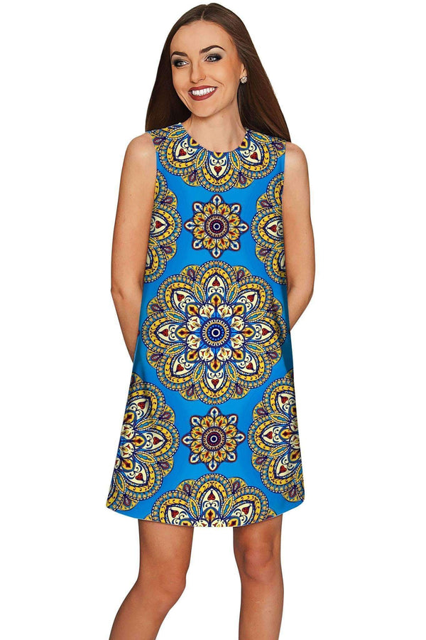 Boho Chic Adele Blue Geometric Pattern Shift Dress - Women-Boho Chic-XS-Blue/Gold-JadeMoghul Inc.