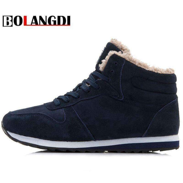 Bolangdi Genuine Leather Winter Men Women Boots Warm Plush Sneakers Brand Outdoor Unisex Sport Shoes Comfortable Running Shoes-black-5-JadeMoghul Inc.