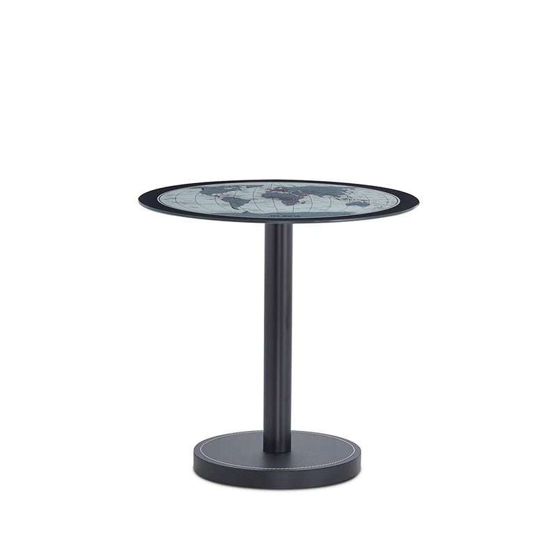 Boli End Table, Map Glass & Black-Side Tables and End Tables-Glass & Black-Glass Metal-JadeMoghul Inc.