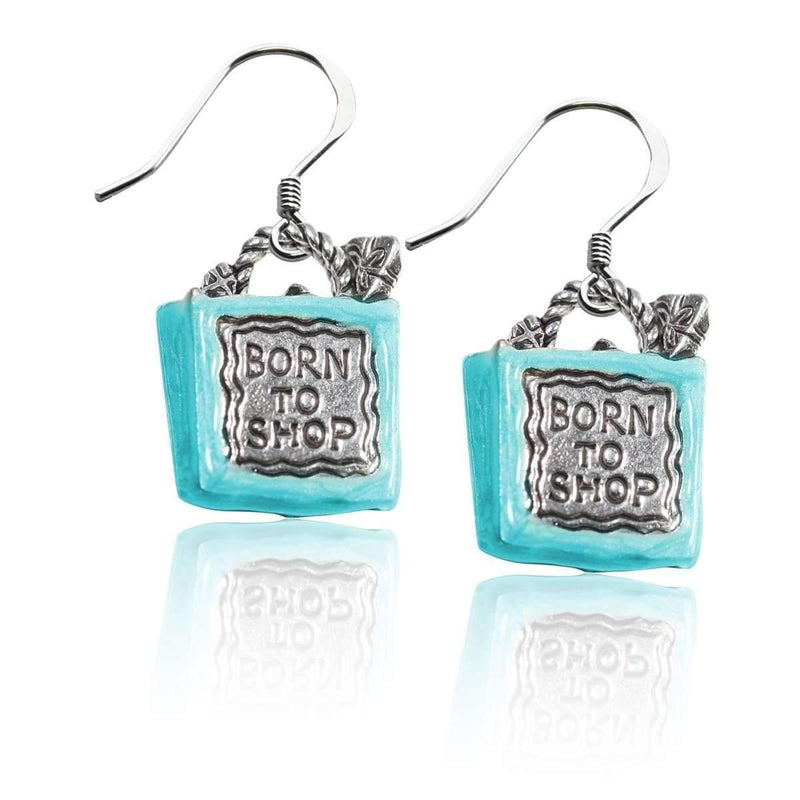 Born to Shop Charm Earrings in Silver-Charm-JadeMoghul Inc.