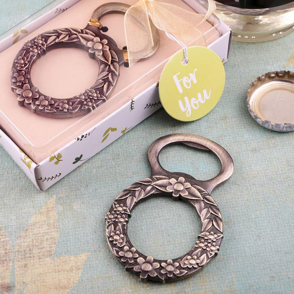 Botanical floral wreath design bronze metal bottle opener-Personalized Coasters-JadeMoghul Inc.