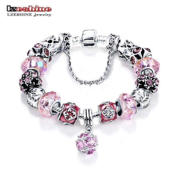 Bottom Price Promotion 2 Weeks LZESHINE Antique Silver Original Women Glass Charm Bracelet & Bangle Fit Charm Bracelet-PCBR0051 18cm-JadeMoghul Inc.