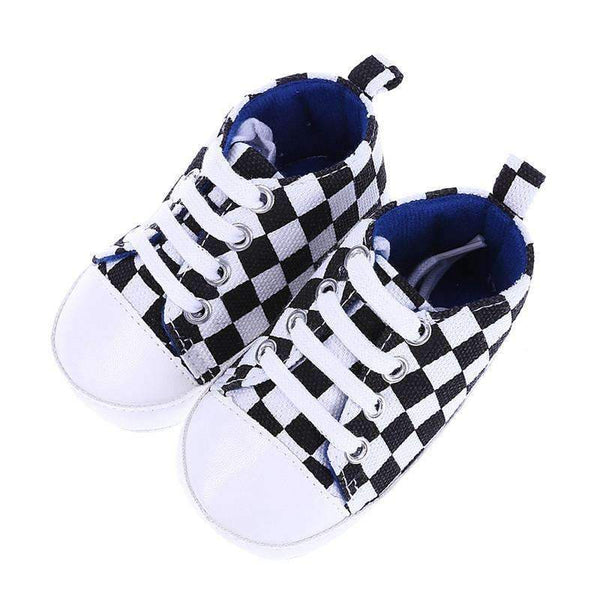 Boys Casual Check Cotton canvas Shoes-0-6 Months-JadeMoghul Inc.