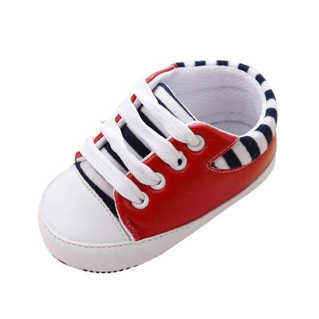 Boys / Girls Striped Canvas Shoes-Red-3-JadeMoghul Inc.