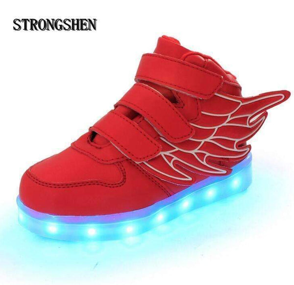 Boys USB Charging LED Light Up Shoes With Wing Design-White 1-1-JadeMoghul Inc.