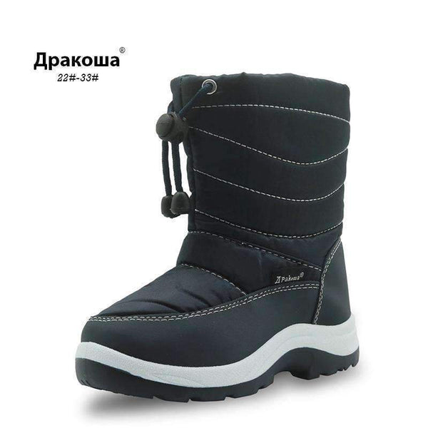 Boys Waterproof Winter Snow Boots With Easy Drawstring Closure-Black-5-JadeMoghul Inc.