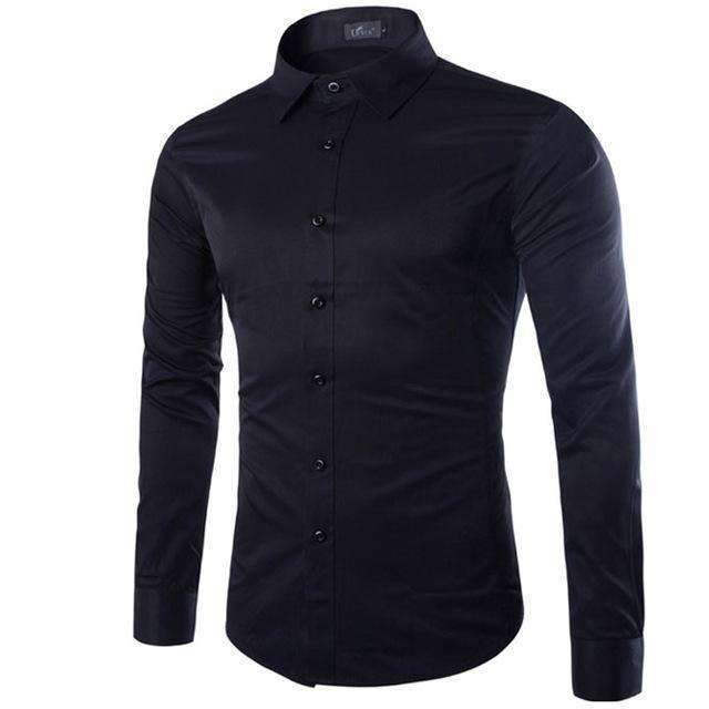 Brand White Men Shirt Long Sleeve Chemise Homme 2016 Fashion Business Design Mens Slim Fit Dress Shirts Casual Camisa Social-Black-S-JadeMoghul Inc.