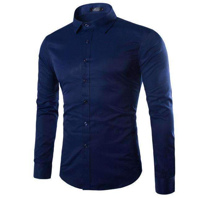 Brand White Men Shirt Long Sleeve Chemise Homme 2016 Fashion Business Design Mens Slim Fit Dress Shirts Casual Camisa Social-Navy Blue-S-JadeMoghul Inc.