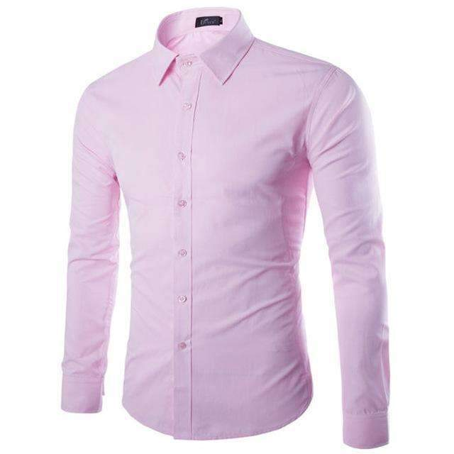 Brand White Men Shirt Long Sleeve Chemise Homme 2016 Fashion Business Design Mens Slim Fit Dress Shirts Casual Camisa Social-Pink-S-JadeMoghul Inc.