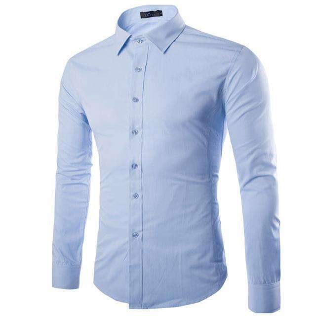 Brand White Men Shirt Long Sleeve Chemise Homme 2016 Fashion Business Design Mens Slim Fit Dress Shirts Casual Camisa Social-Sky Blue-S-JadeMoghul Inc.