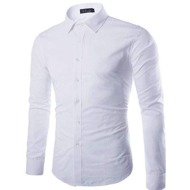 Brand White Men Shirt Long Sleeve Chemise Homme 2016 Fashion Business Design Mens Slim Fit Dress Shirts Casual Camisa Social-White-S-JadeMoghul Inc.