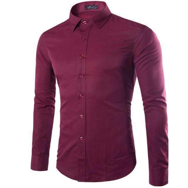Brand White Men Shirt Long Sleeve Chemise Homme 2016 Fashion Business Design Mens Slim Fit Dress Shirts Casual Camisa Social-Wine Red-S-JadeMoghul Inc.