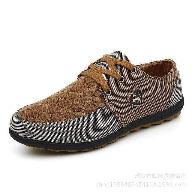Breathable Swede Canvas Men Shoes-Brown-6.5-JadeMoghul Inc.