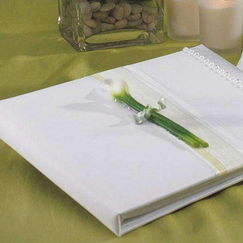 Bridal Beauty Calla Lily Traditional Guest Book (Pack of 1)-Wedding Reception Accessories-JadeMoghul Inc.