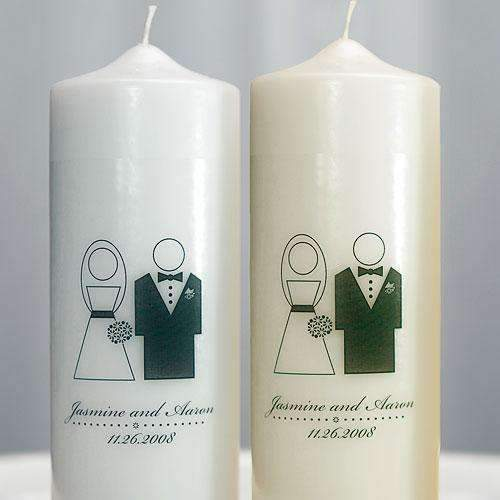 Bride and Groom Personalized Unity Candle White (Pack of 1)-Wedding Reception Decorations-JadeMoghul Inc.